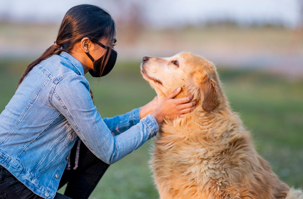 woman-with-face-mask-staring-at-dog