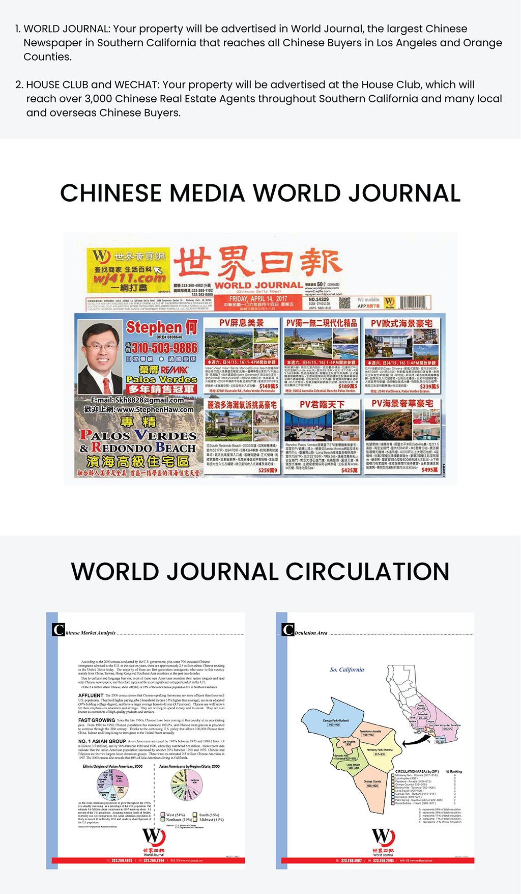 WORLD JOURNAL: Your property will be advertised in World Journal, the largest Chinese Newspaper in Southern California that reaches all Chinese Buyers in Los Angeles and Orange Counties. HOUSE CLUB and WECHAT: Your property will be advertised at the House Club, which will reach over 3,000 Chinese Real Estate Agents throughout Southern California and many local and overseas Chinese Buyers. Chinese Media World Journal.