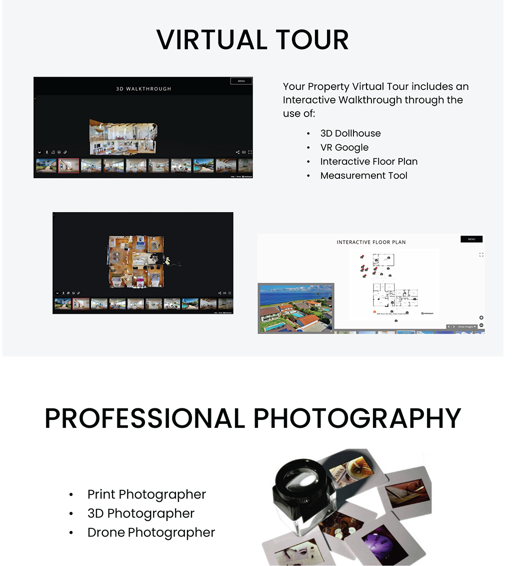 Virtual tour. Your property virtual tour includes an interactive walkthrough through the use of 3d dollhouse, vr google, interactive floor plan, measurement tool. Professional photography. Print photorapher, 3d photographer, drone photographer.