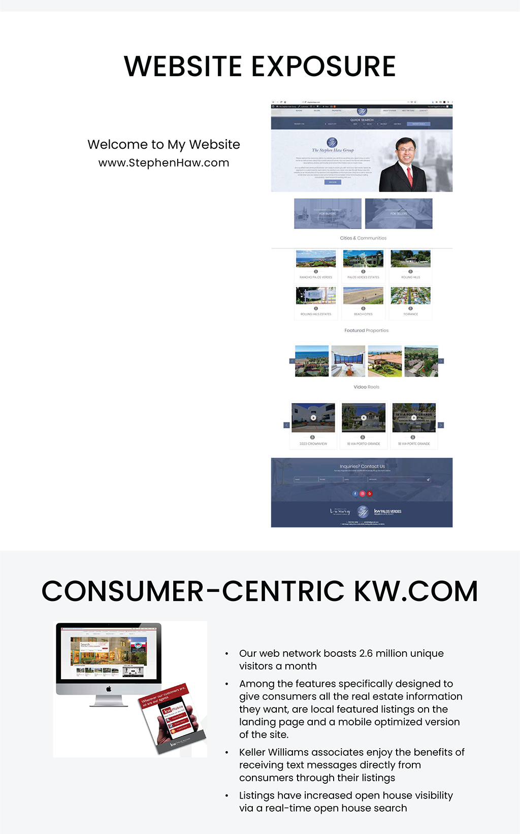 Website Exposure. Welcome to my website www.stephenhaw.com. Consumer-centric kw.com. Our web network boasts 2.6 million unique visitors a month. Among the features specifically designed to give customers all the real estate information they want, are local featured listings on the landing page and a mobile optimized version of the site. Keller williams associates enjoy the benefits of receiving text messages directly from consumers through their listings. Listings have increased open house visibility via a real-time open house search.