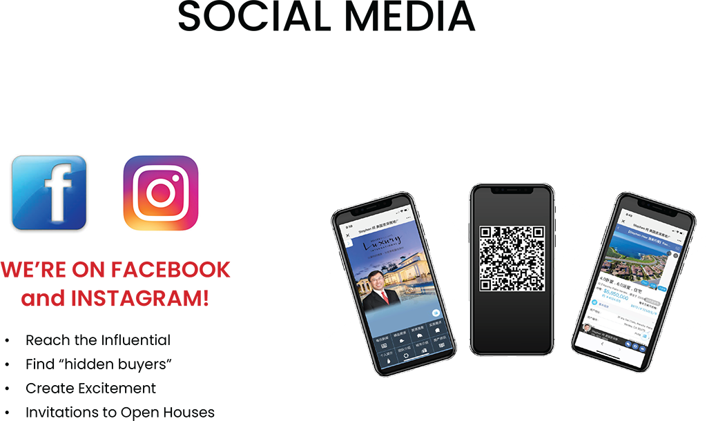 Social Media. We're on Facebook and instagram! Reach the influential. Find hidden buyers. create excitement. invitations to open houses.